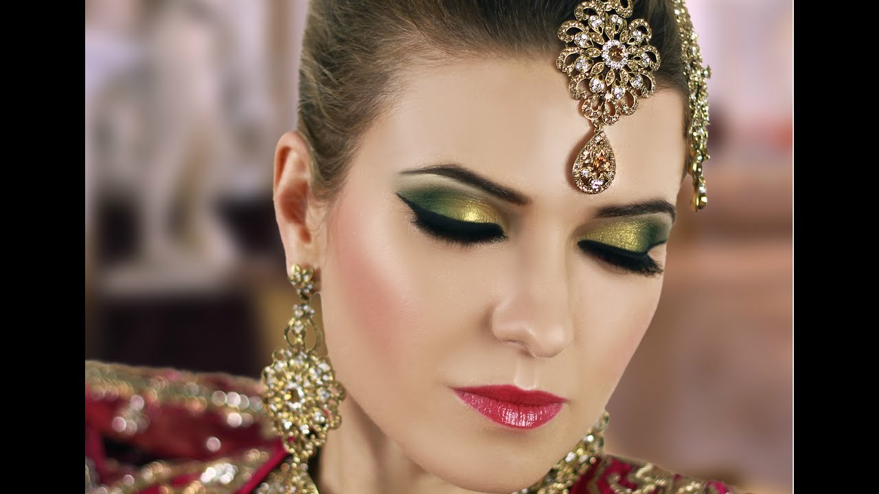 Gold and Green Smokey Eye Bridal Makeup Tutorial , Asian Indian Pakistani  Arabic Contemporary Look