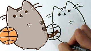 Cómo dibujar a Pusheen the cat basquetbol