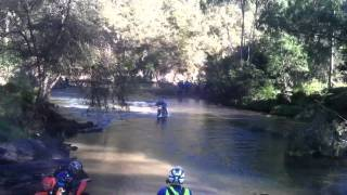motor bike river crossing at howqua camping ground