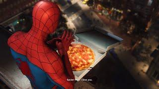 Spider-Man PS4 Black Cat DLC - Spiderman Eats Pizza Funny Cutscene