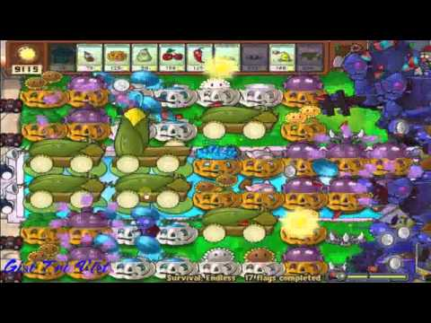 Plants Vs Zombies Survival Endless  flags1- 50