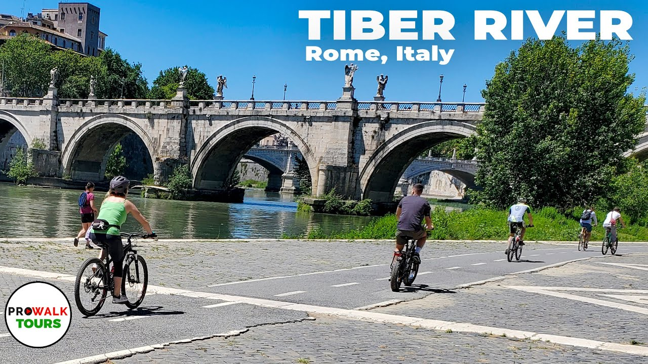 Biking along the Tiber River in Rome - 4K - June 2020