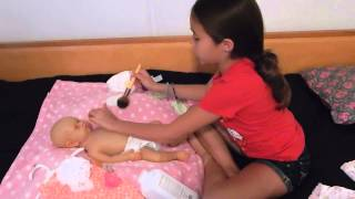 Powdering and Changing Full Body Silicone Baby Doll Sabrina PART 1