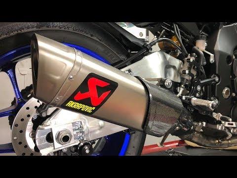download 2018 Yamaha R1M - Stock exhaust vs Akrapovic Evo Line (Titanium) | Install and Soundcheck