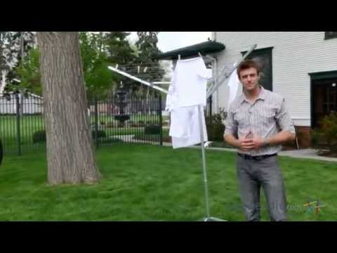 Wonderful Household Essentials 6 Line Portable Indoor/Outdoor Umbrella Clothesline    Product Review Video