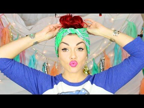 Cute Fast No Heat Bandana Hairstyle Youtube