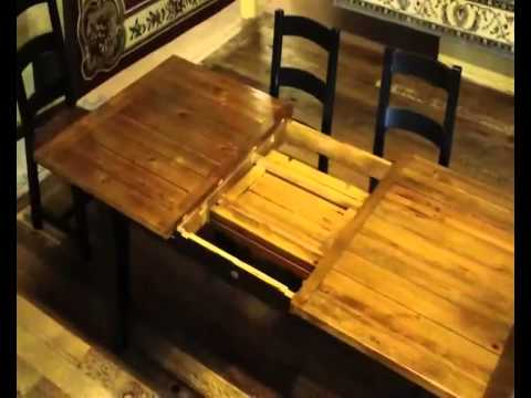 reclaimed wood farmhouse table with butterfly leaf demo youtube