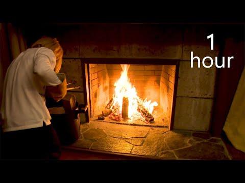 【鬼龍院】癒し&安眠のための暖炉動画1時間