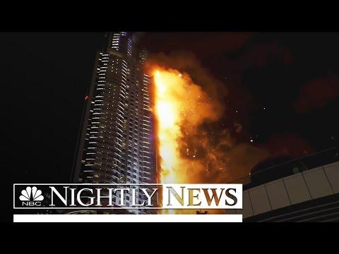 Despite Burning Skyscraper, Dubai Proceeds With Fireworks Display | NBC Nightly News
