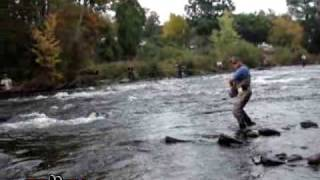 Finman fighting a fresh king on the Salmon River in Pulaski, NY - SalmonCrazy