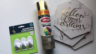 DIY OFFICE DECOR / DOLLAR TREE WALL DECOR/ SUPER EASY!! /MoBellaLife TV