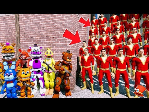 CAN THE ANIMATRONICS DEFEAT THE EVIL SHAZAM CLONE ARMY? (GTA 5 Mods FNAF Kids RedHatter) thumbnail