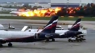 Burning plane makes emergency landing at Moscow airport