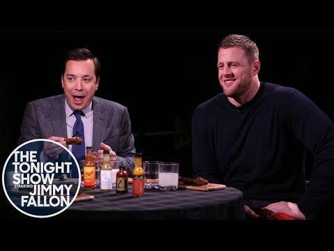 J.J. Watt & Jimmy Get Their Feelings Hurt While Eating Spicy Wings w/ Sean Evans (Hot Ones)