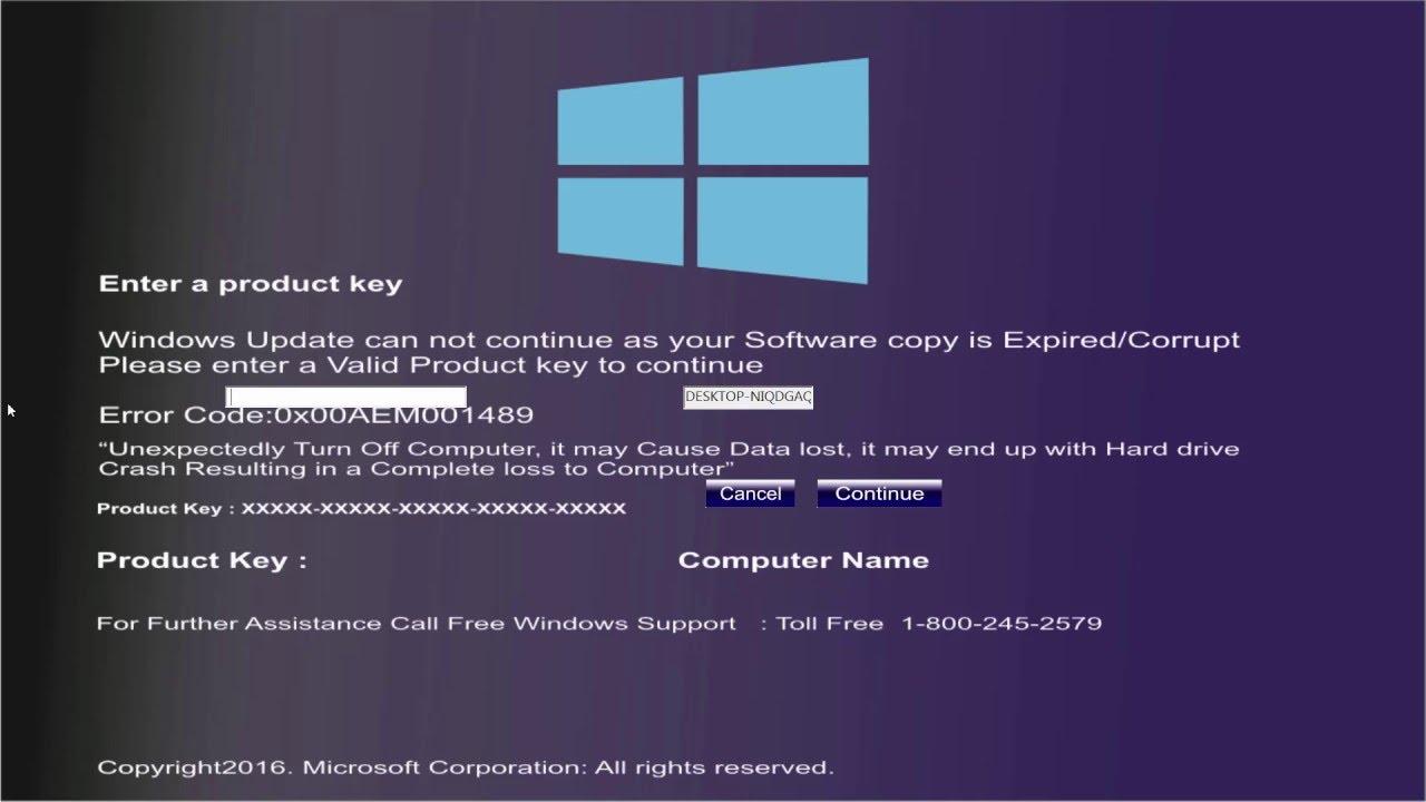 windows product key expired virus