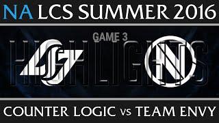 CLG vs Team Envy Game 3 Highlights - NA LCS Week 3 Day 3 Summer 2016 - CLG vs NV G3