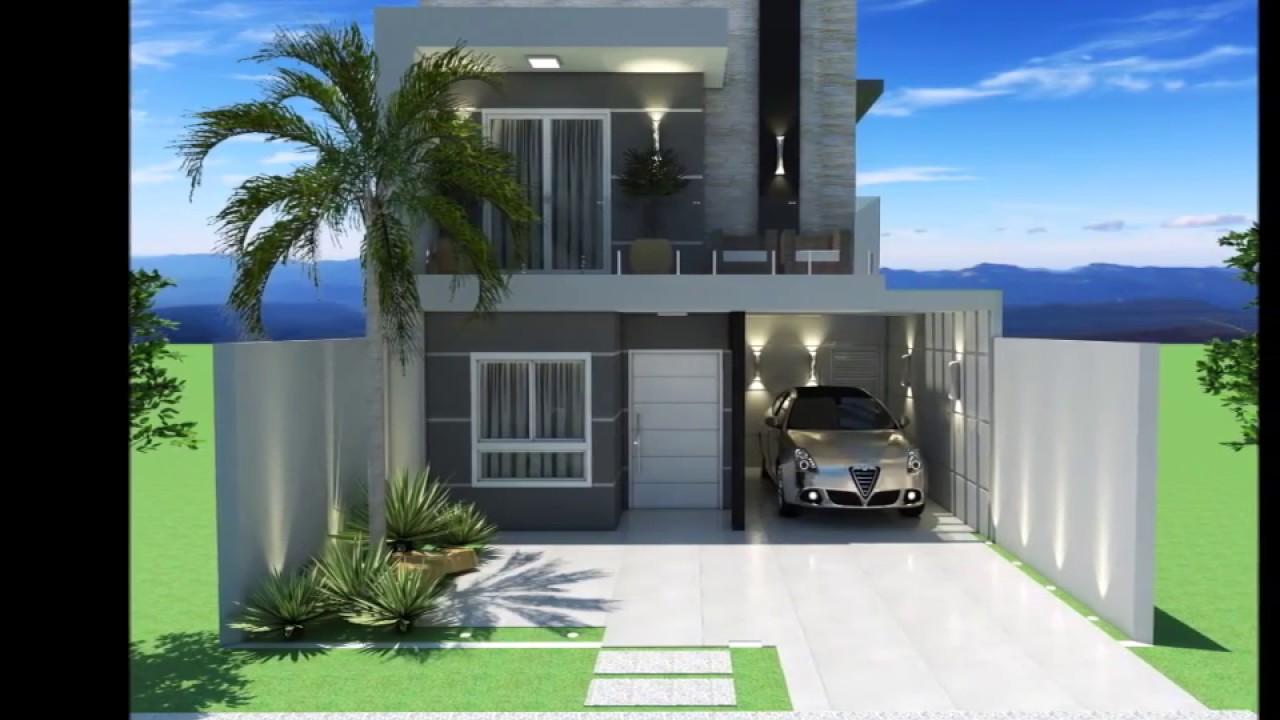 Projeto casa sobrado 8x25 195 m moderna youtube for Casa moderna 8
