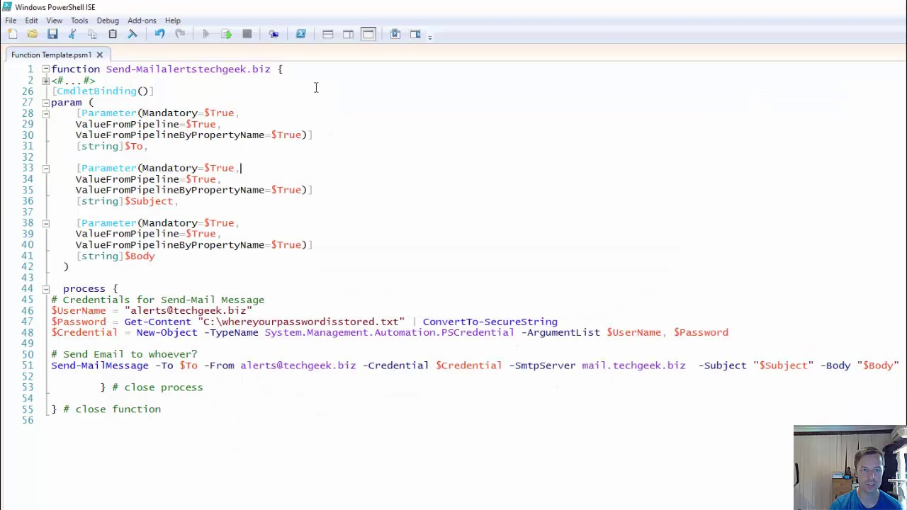 Powershell Make A Function Using Send Mailmessage Youtube