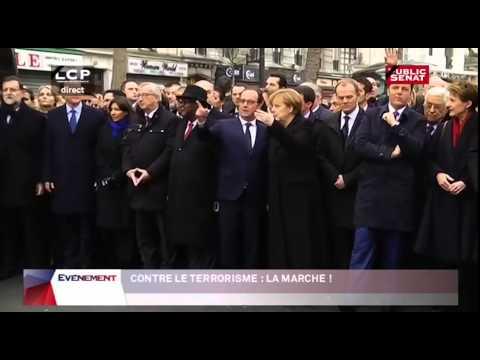 François Hollande, Angela Merkel, David Cameron défilent ensemble à Paris (11/01/2015)
