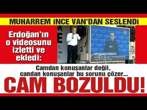 Prompter bozulunca Erdoğan dondu kaldı... Muharrem İnce bu anı milyonlara izletti