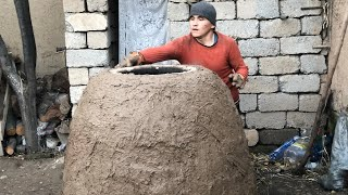 Установка узбекского тандыра.Узбекистан.