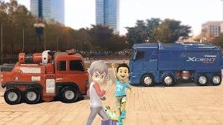헬로카봇 펜타스톰 엑시언트 VS 또봇R 소방차 자동차 장난감 야외촬영 실사합성 변신 동영상(HELLO CARBOT Tobot Transformation)[토이스페이스]