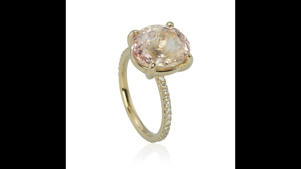 rose peach bezel ring sapphire pin diamond oval gold in and stone