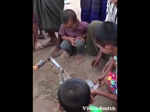 Innovative children showing his innovation