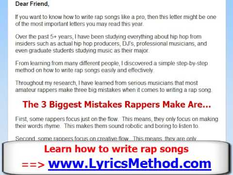 how to write a good rap song How to write lyrics: tips from an amateur there's no natural talent required to write lyrics or music this is a really good setup strategy for the more.