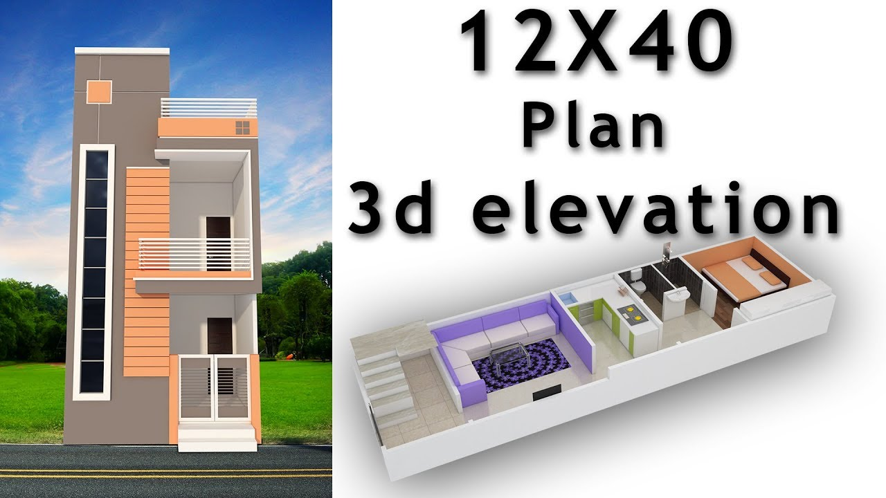12x40 house plan with 3d elevation by nikshail