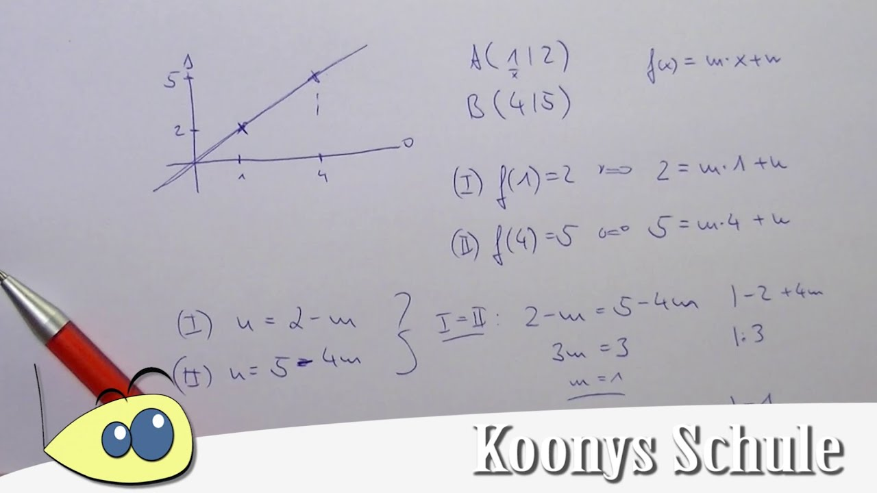 Lineare Funktion mit 2 Punkten aufstellen | Funktionen, Klasse 8 ...