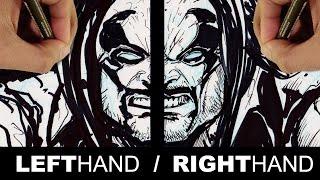 LEFT HAND RIGHT HAND CHALLENGE!!! DRAWING DC COMICS LOBO!