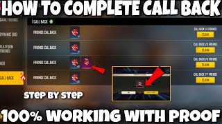 how to complete call back event in free fire || free fire call back event full details