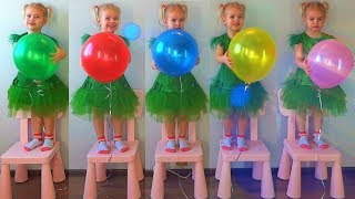 Learn Colors Five Little Monkeys Jumping On The Bed. Children Nursery Rhyme and Songs