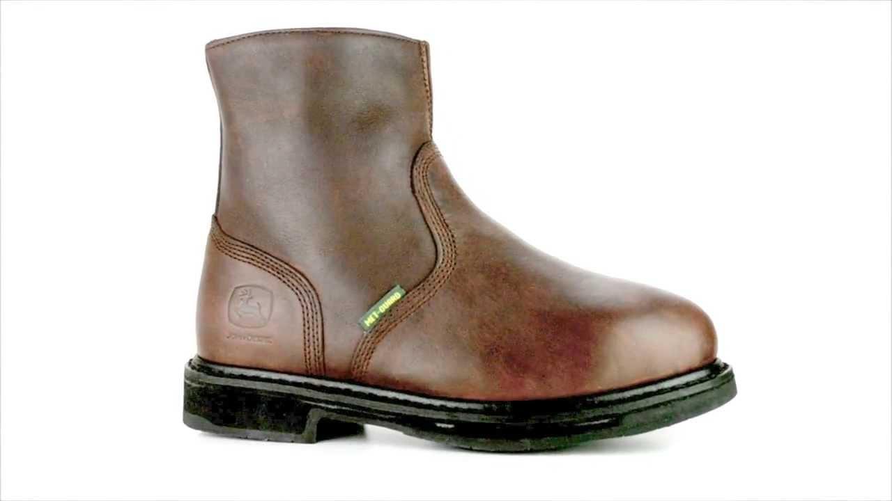 Men's John Deere JD7305 Steel Toe Side Zipper Metguard Wellington ...