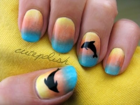 Sunset Ombre Dolphin Nail Art - Sunset Ombre Dolphin Nail Art - YouTube