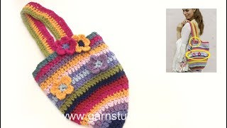 How to crochet flowers and attach the strap in DROPS 187-3