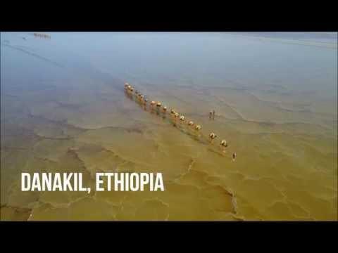 Drone footage of salt caravans crossing the Danakil Depression in Ethiopia