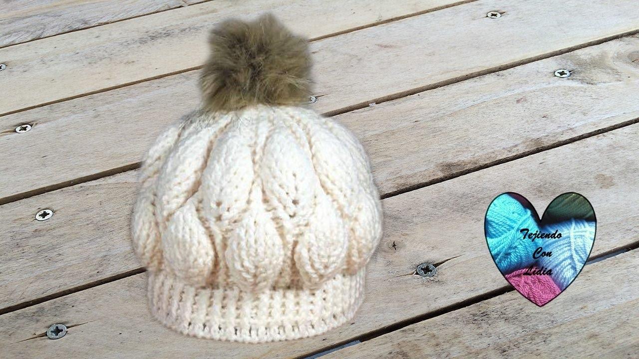 Gorro hojas en relieve tejido a crochet lindo y facil paso a paso ...