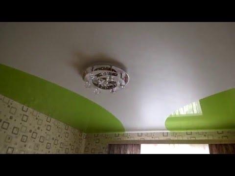 Криволинейная спайка полотен натяжного потолка в будущей детской комнате.