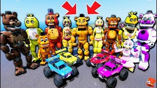 Freddy & Chica Animatronics Stunt RC Race Cars on 10,000 Foot Ramps! (GTA 5 Mods FNAF RedHatter)