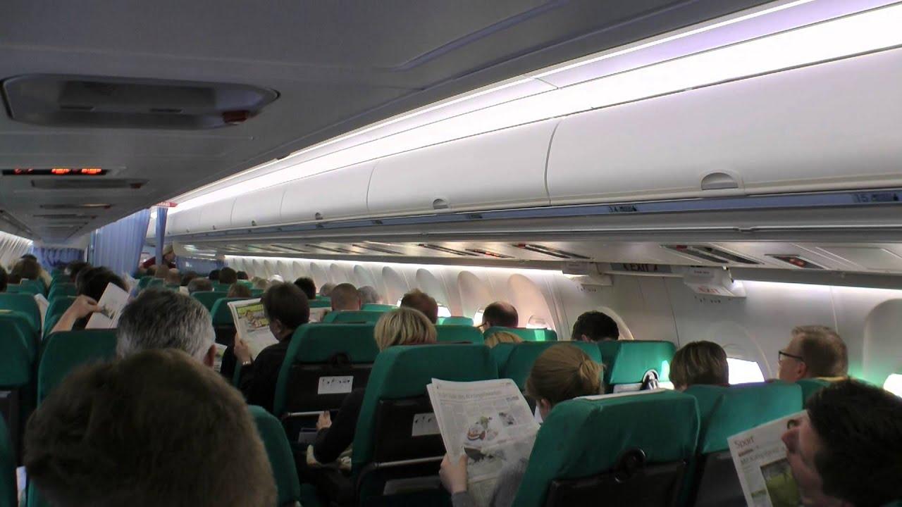 Fokker 100 Austrian Airlines cabin view Copenhagen ...