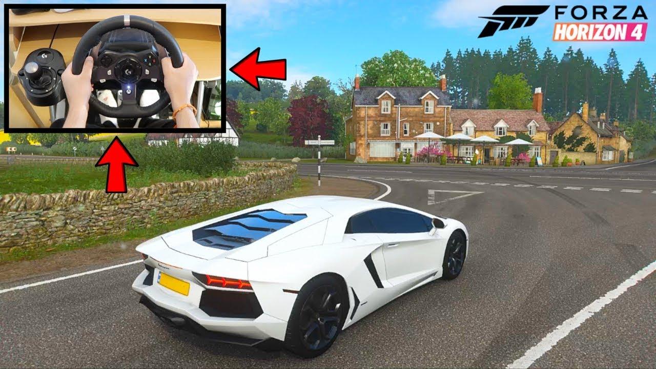 Forza Horizon 4 Lamborghini Aventador (Steering Wheel + Paddle Shifters)  Gameplay