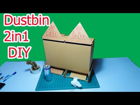 How to Make Dustbin 2in1 from Cardboad - DiY