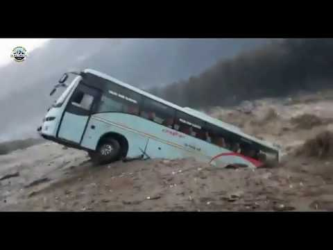 Live Flood-Footage Kullu-Manali | Volvo Bus Washed-away | 23 September 2018 |