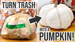 DIY Trash Pumpkin - How to Make a Faux Pumpkin from TRASH! - HGTV Handmade
