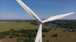 21 Jahre alte  Micon M1800/600 Windkraftanlagen aus der Luft