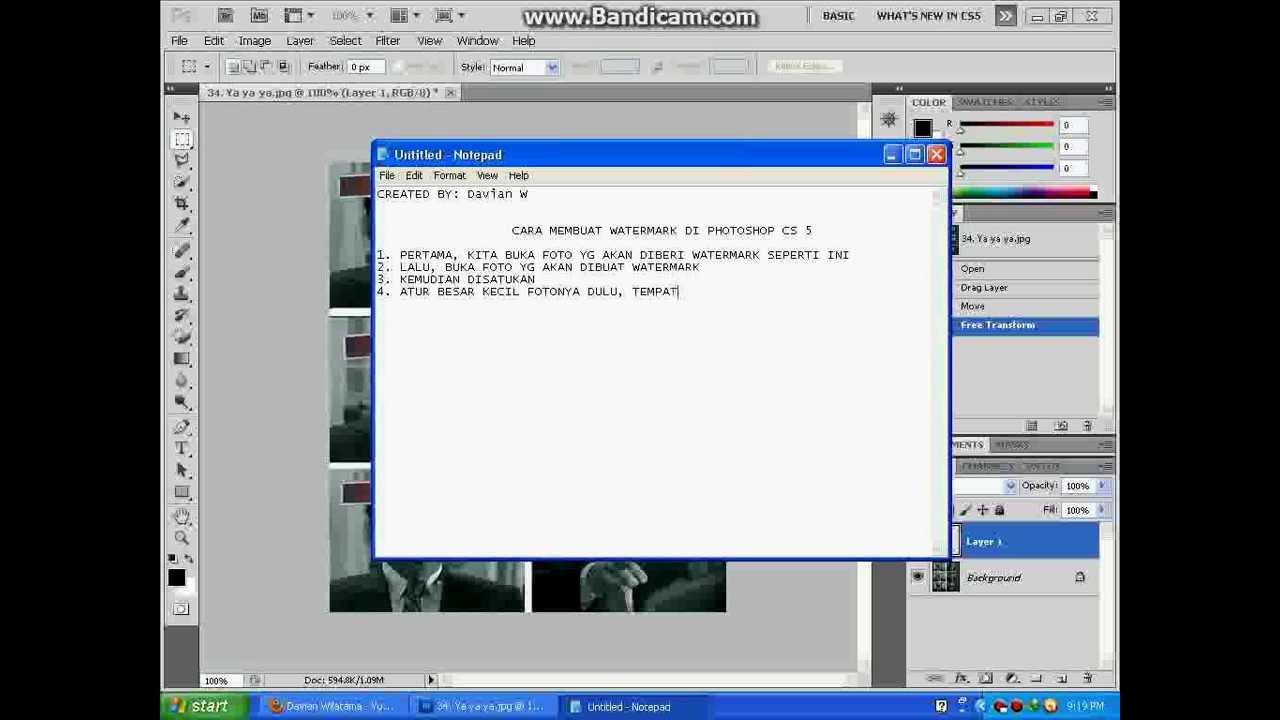 Cara Membuat Watermark di PhotoShop CS5 (By:RDW) - YouTube