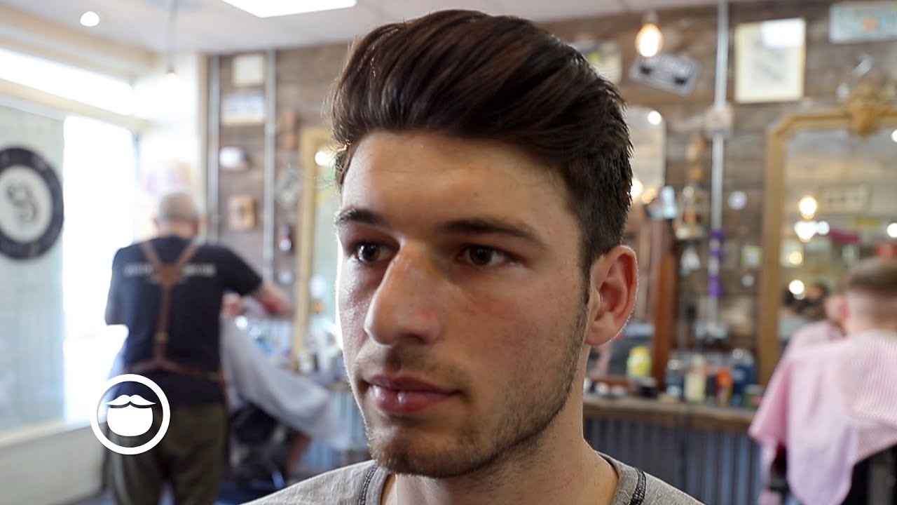Barber Gives A Modern Pompadour Haircut Youtube