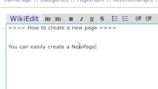 WikkaWiki in action: 3. Creating a new page
